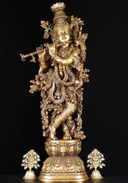 Brass Ornate Gopal Krishna Statue with Peacock 30