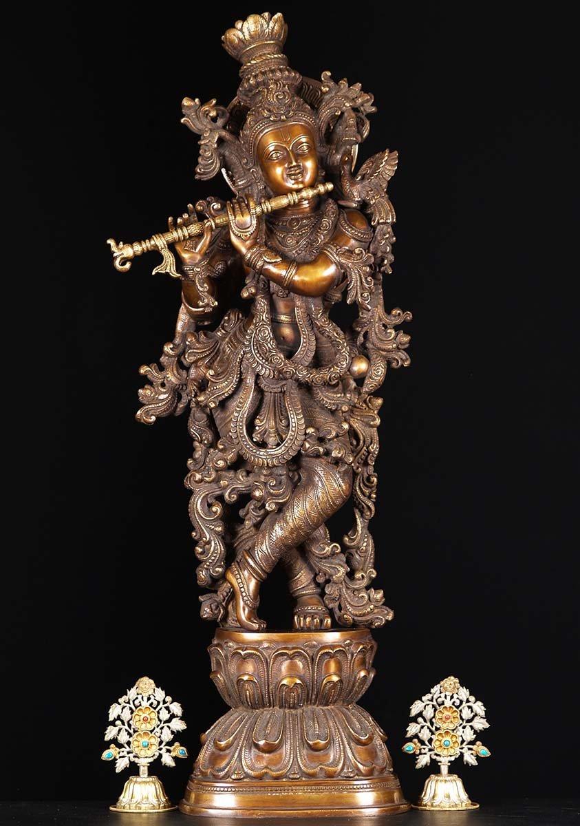Brass Ornate Gopal Krishna Statue 30 Quot 61bs69z Hindu