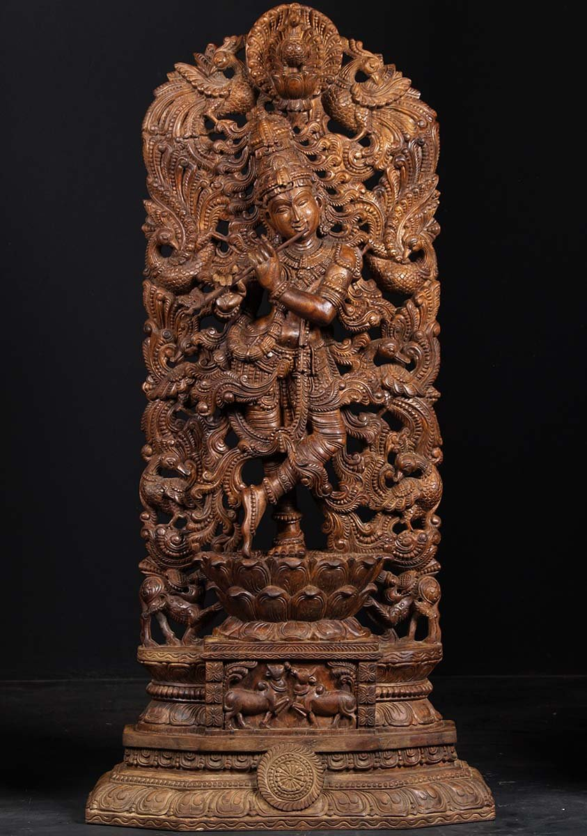 Sold Wooden Krishna Statue With Peacocks 53 Quot 76w13