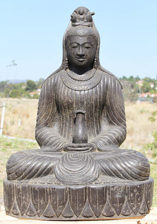 "SOLD Stone Meditating Kwan Yin Statue 37"" (#88ls188 ..."