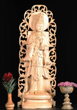 Wooden Kwan Yin Statue Holding Nectar of Life 21