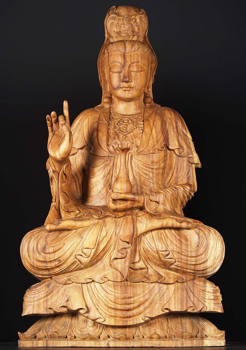 Sold Wooden Kwan Yin Holding Vase Of Nectar 40 Quot 81w30