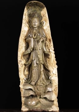 Natural Wood Kwan Yin Carving 27