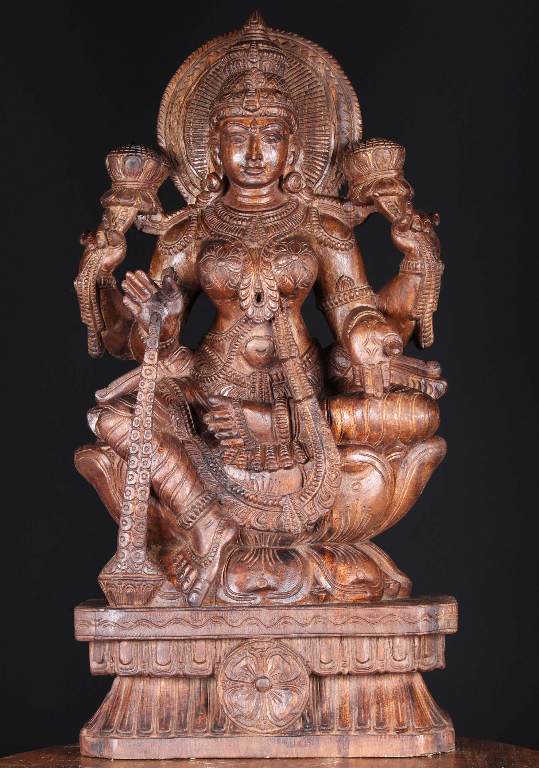 SOLD Wooden Lakshmi with Coins Pouring from Hand 30