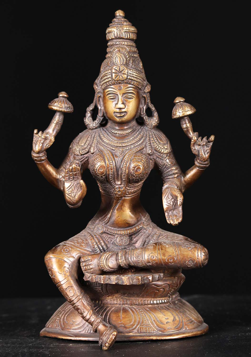 Lakshmi Seated Holding Two Lotus Flowers 8 61bs80z Hindu Gods