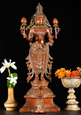 Brass Lakshmi With Elephant Candle 15