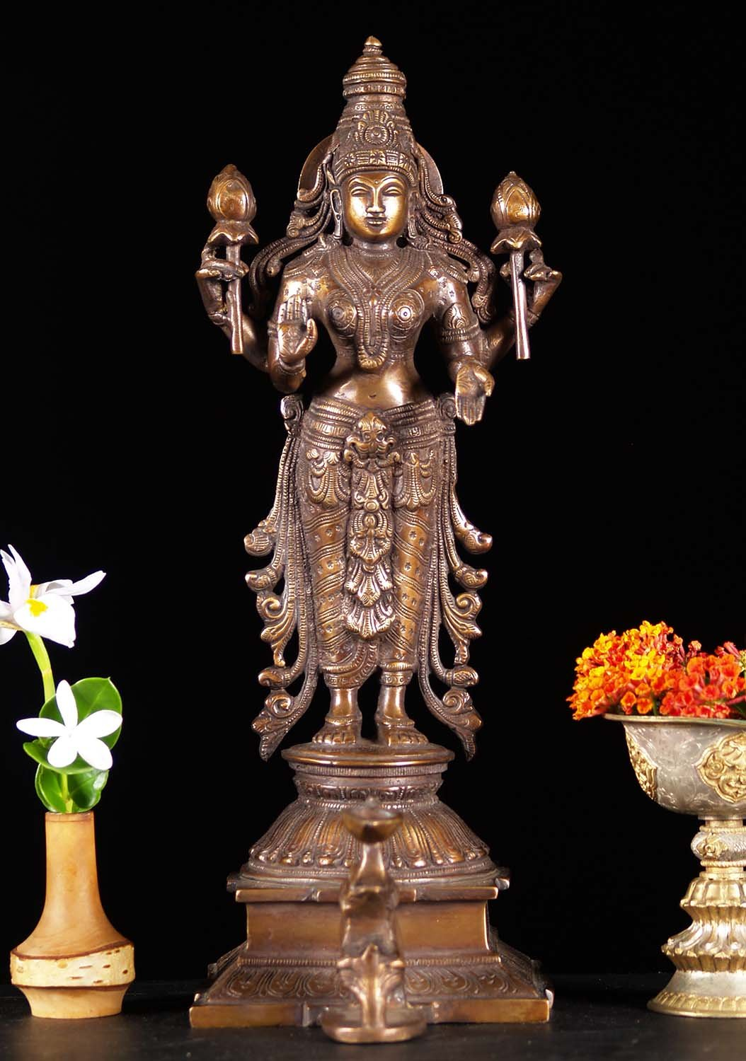 Brass Lakshmi Statue with Elephant Candle