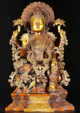 Brass Goddess Lakshmi Statue With Owl 19