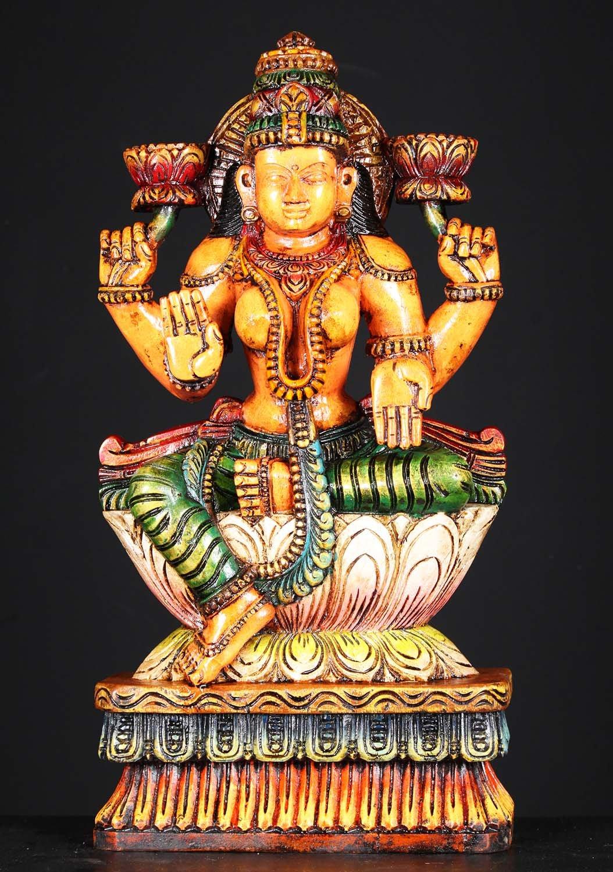 Wooden Painted Lotus Lakshmi Statue 24 Quot 76w1ji Hindu