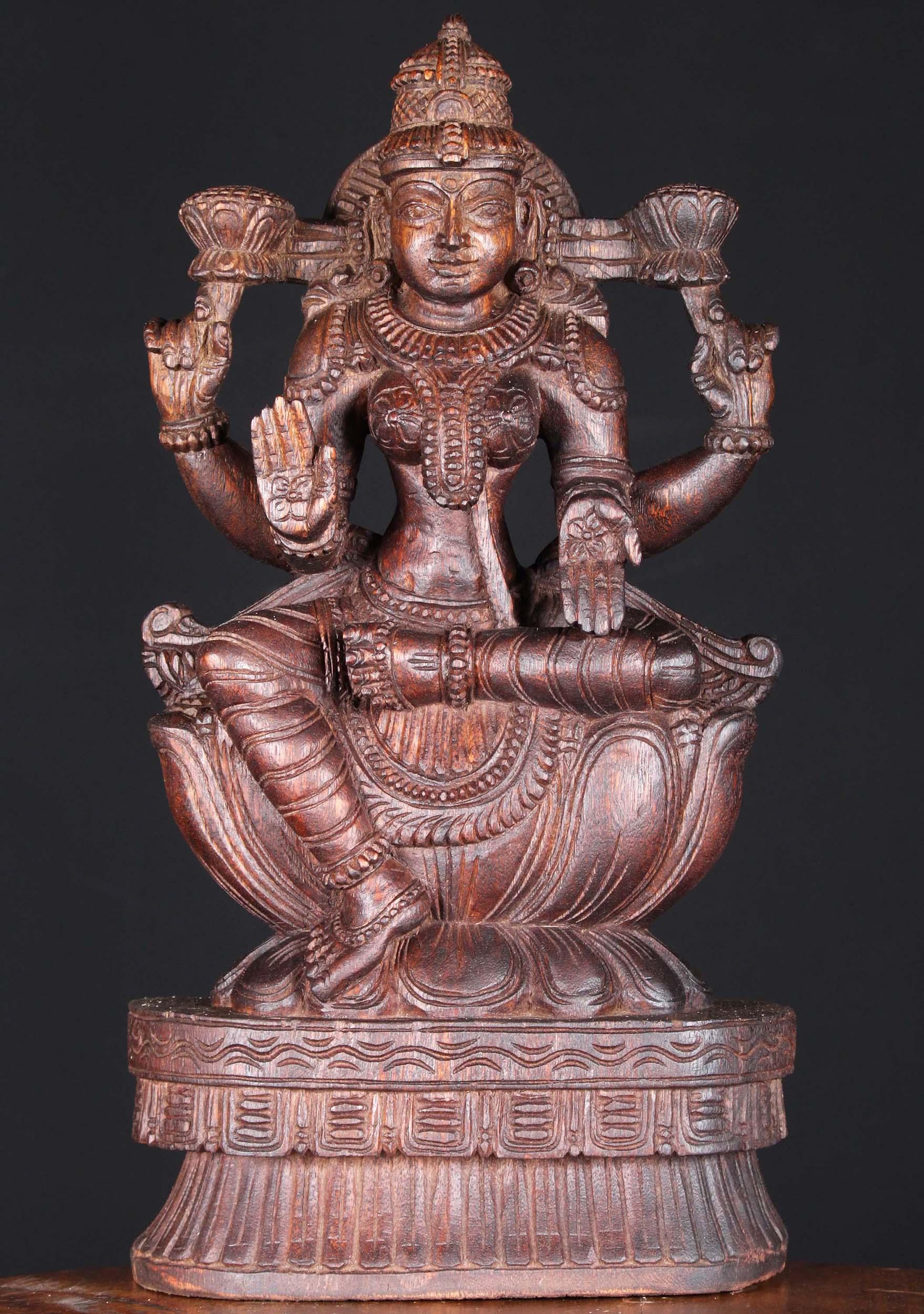 Wood Lakshmi Holding 2 Lotus Flowers 18 76w6dq Hindu Gods