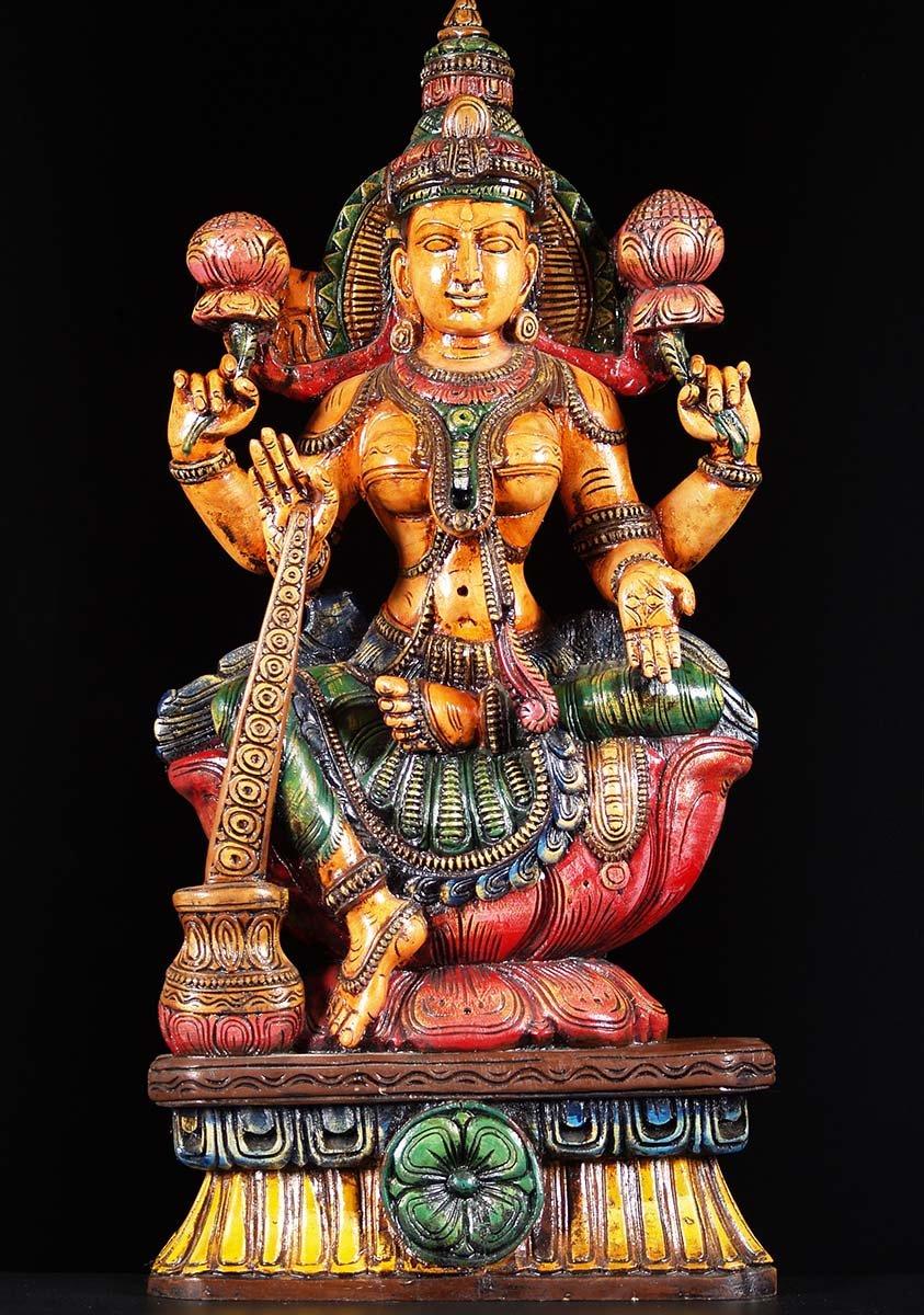 Wooden Lakshmi Granting Boons Statue