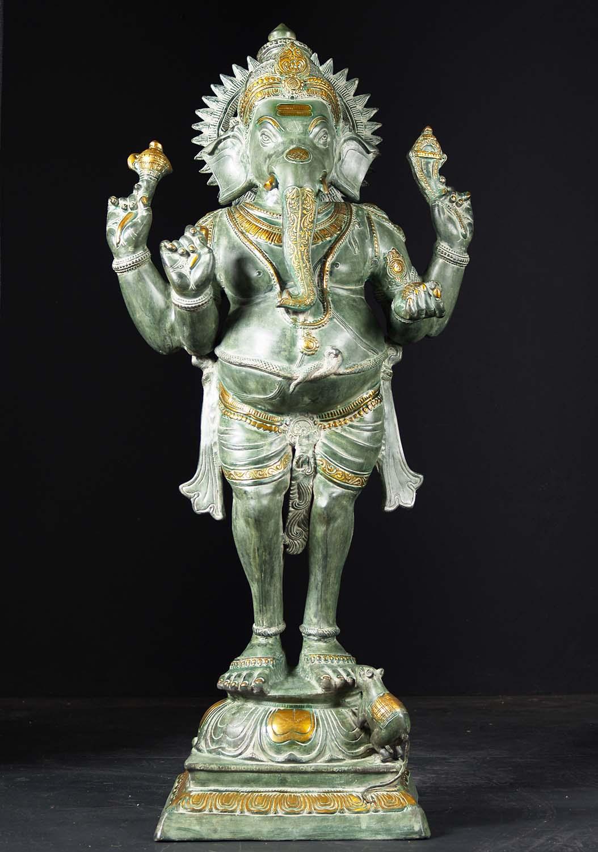 Brass Antique Stone Brass Standing Ganesh 51 Quot 87bs54b
