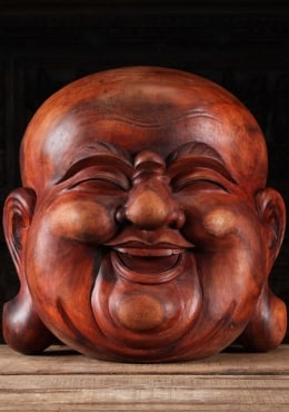 Large Wood Mask of the Fat & Happy Buddha 24