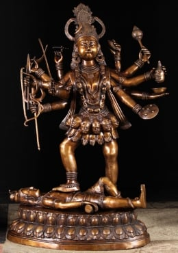 Brass Large Kali Standing on Shiva Statue 43
