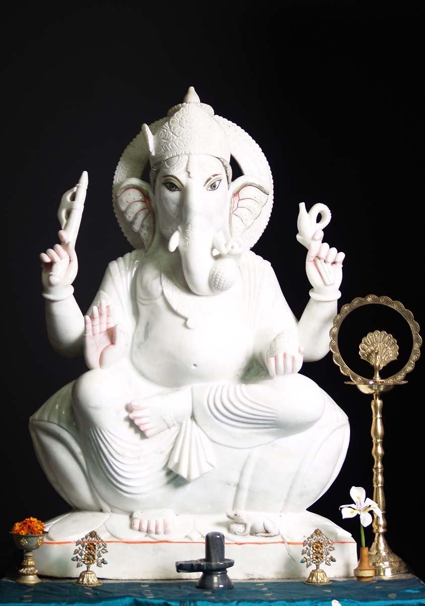 Sold Large White Marble Ganesha Statue 46 71wm37 Hindu Gods