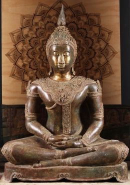 Large Meditating Thai Brass Buddha Statue 58