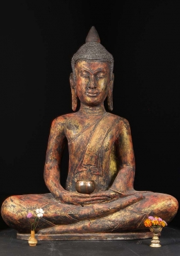 Large Meditating Wood Cambodian Buddha 46