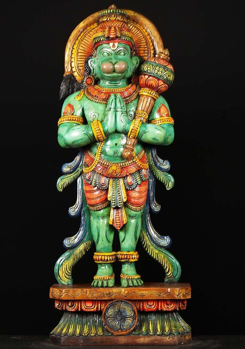 Sold Wood Hanuman Statue Holding A Club 36 Quot 76w2bc Hindu Gods Amp Buddha Statues