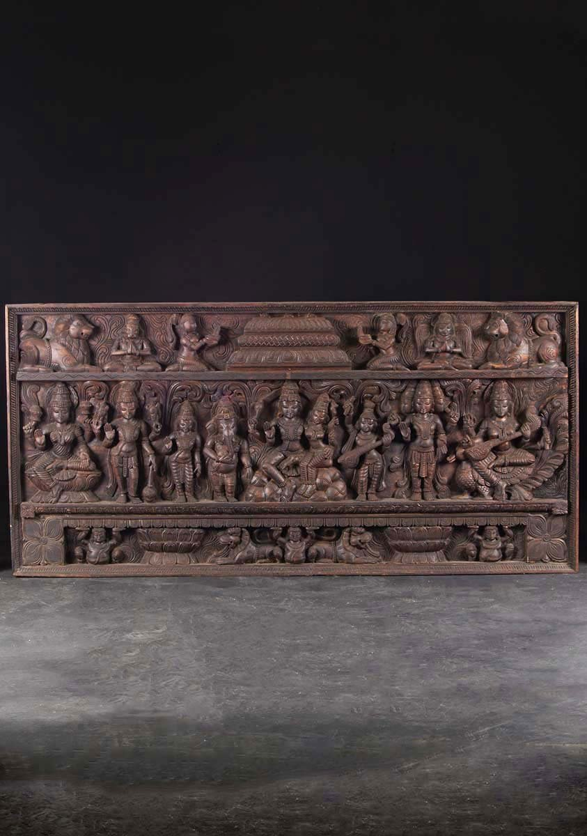 Sold Large Hindu Wooden Wall Panel 72 Quot 76w21 Hindu