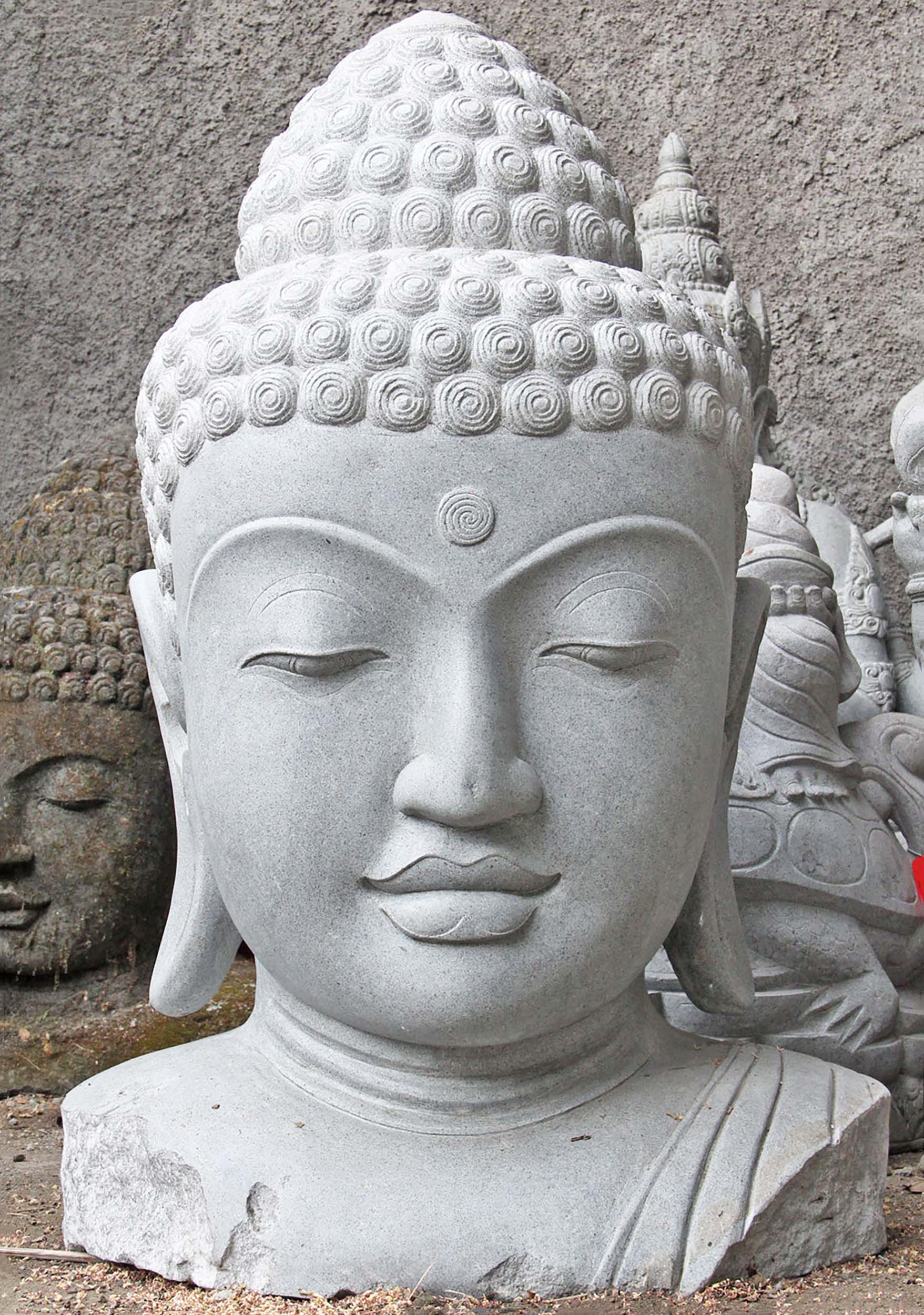 Sold Large Stone Buddha Head Statue 51 Quot 105ls185 Hindu