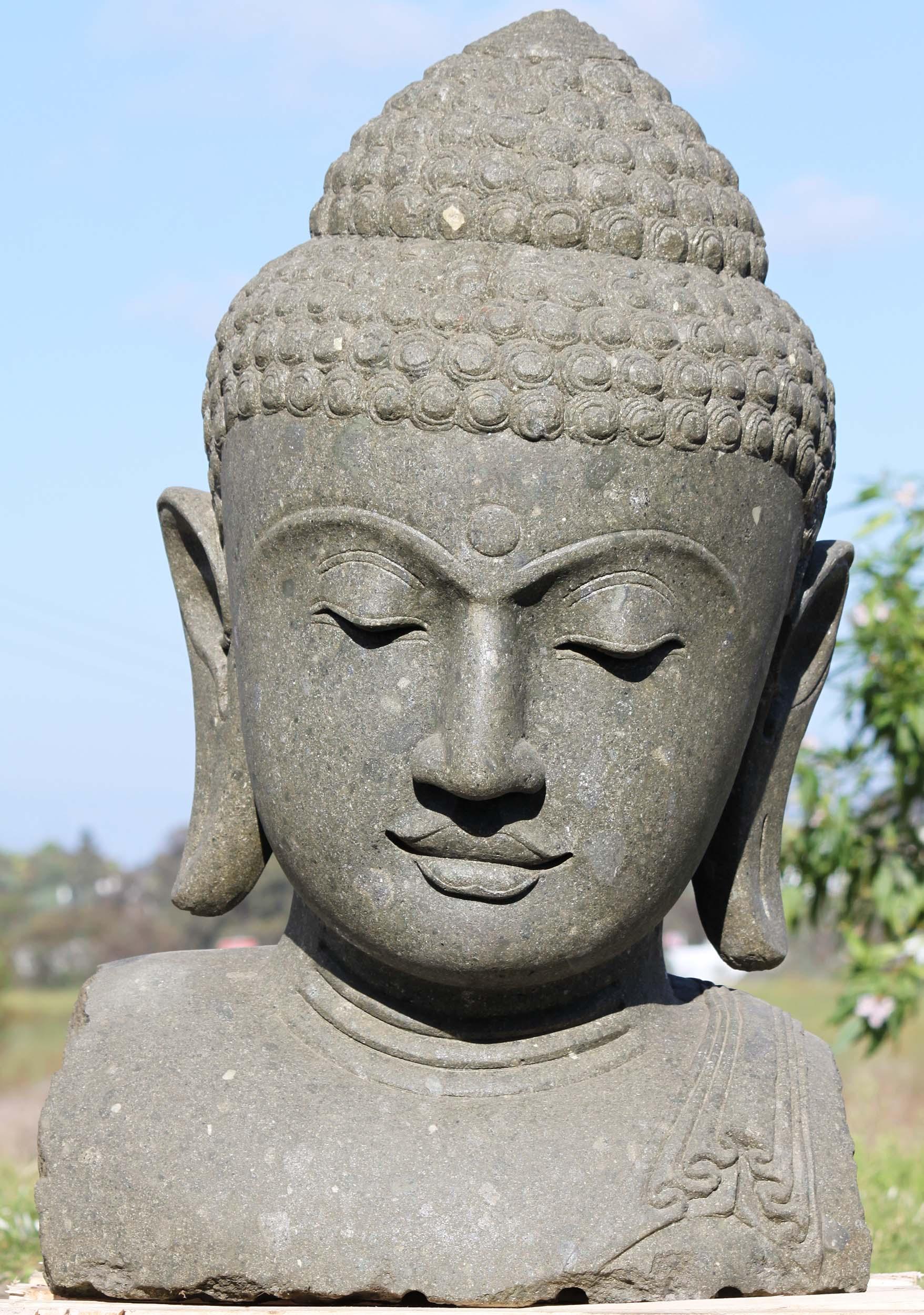 sold large stone rustic garden buddha head 41 102ls413. Black Bedroom Furniture Sets. Home Design Ideas