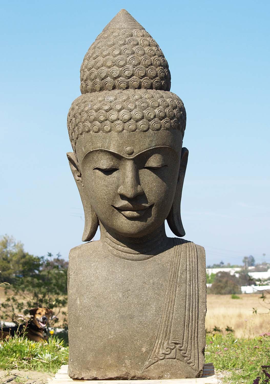 Sold large stone garden buddha head 60 83ls116 hindu for Outdoor buddha