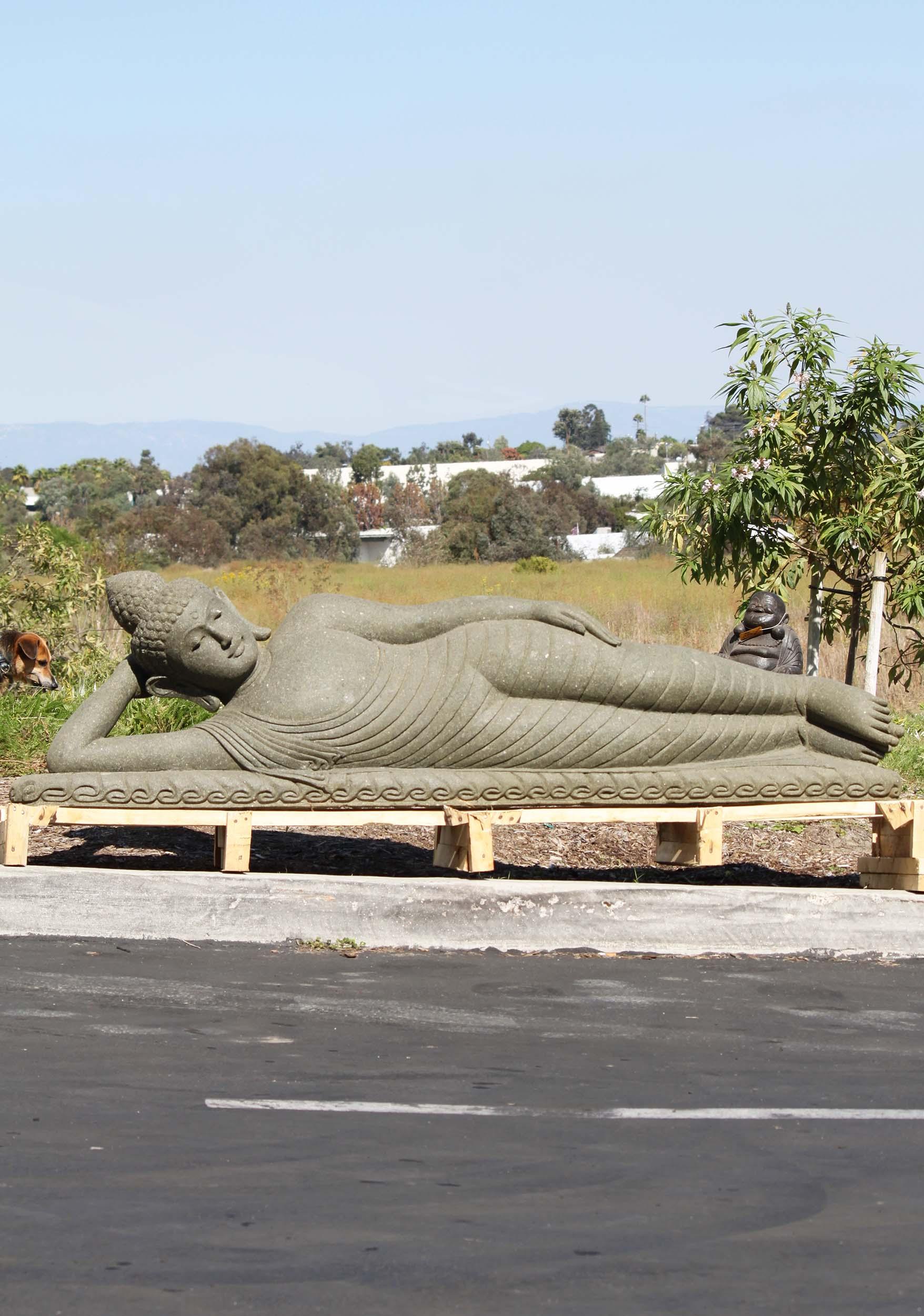 SOLD Large Stone Reclining Buddha Statue 82