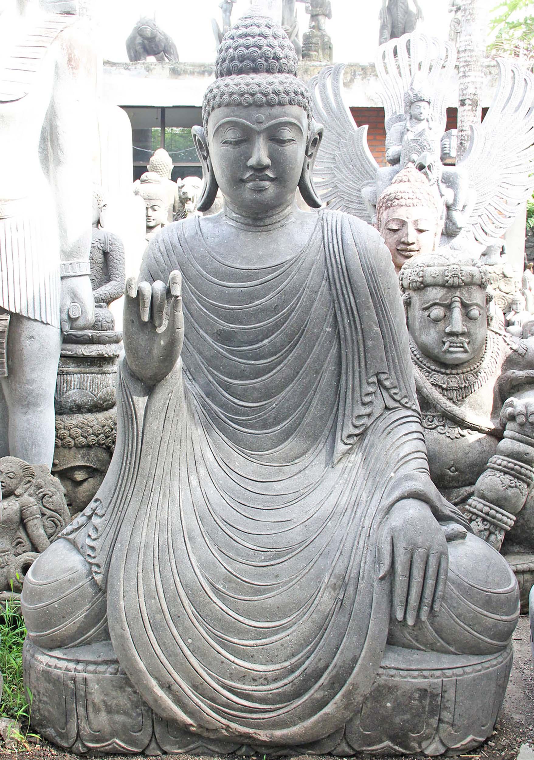 "Buddha Statues For The Garden: SOLD Stone Large Teaching Garden Buddha Statue 62"" (#96ls3"
