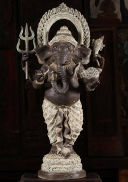 Brass Thai Ganesh with Trident & Mooshika 47