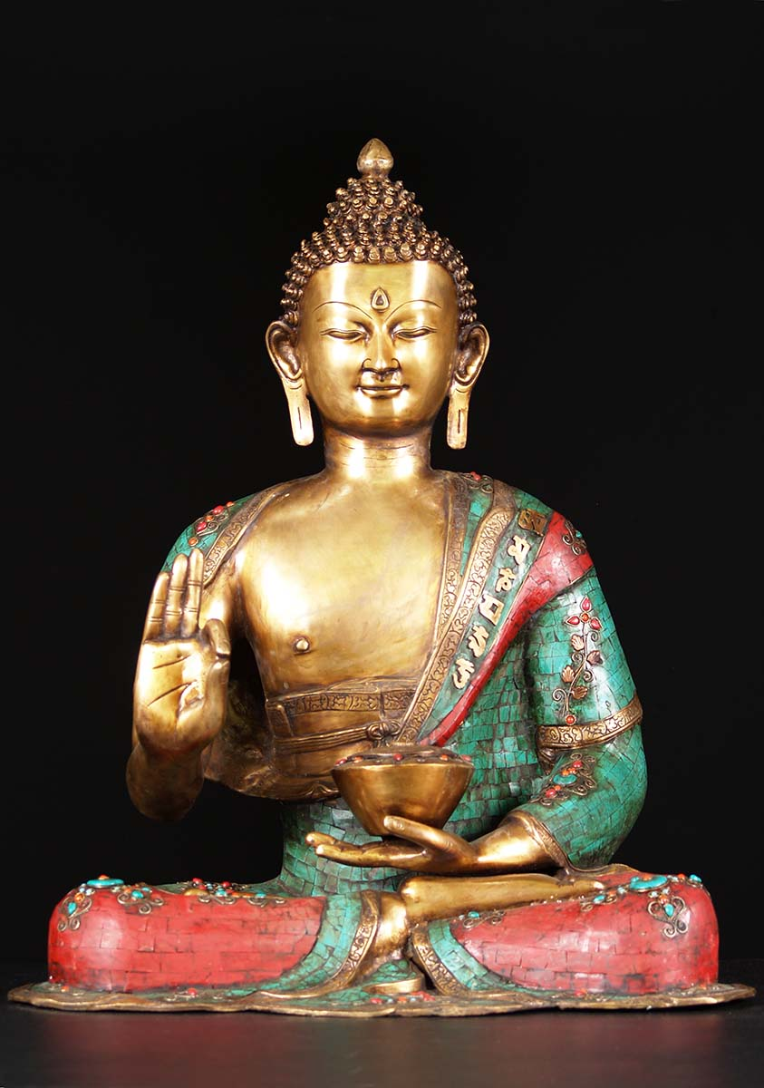 Brass Vitarka Buddha With Colored Stones 28 Quot 72bs44