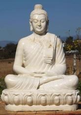 """Große weiße Marmor meditiert Buddha-Statue 48"""""""