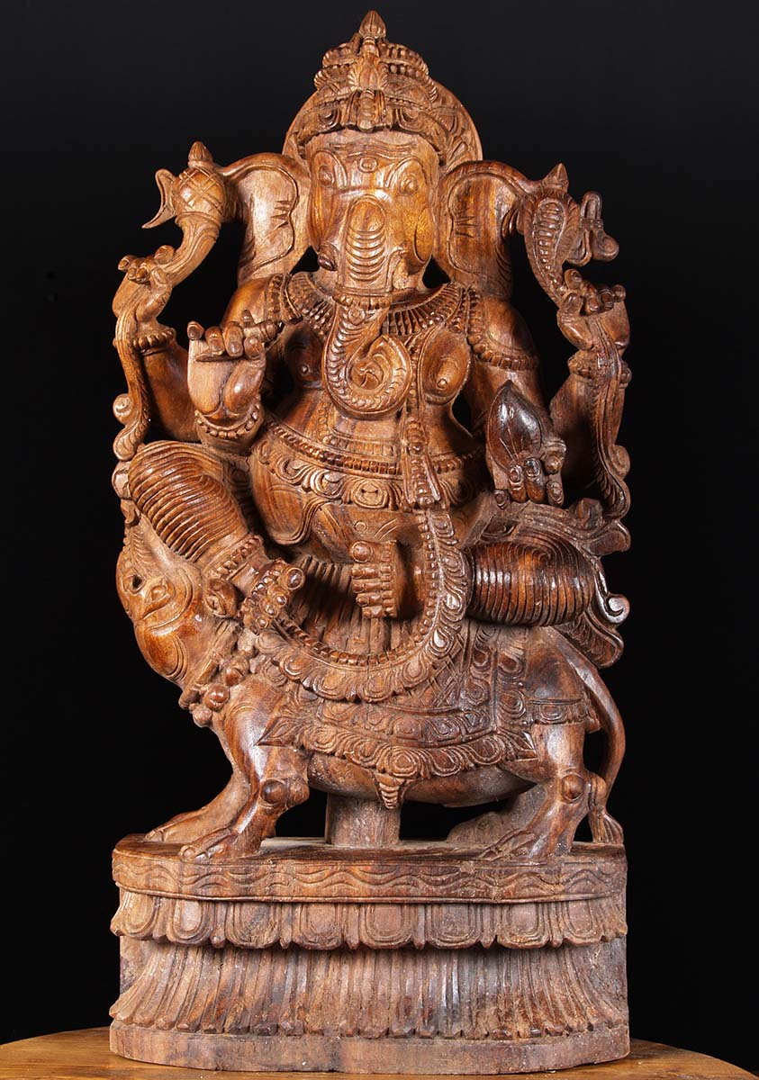 SOLD Wood Ganesh Statues Seated On Rat 30quot 76w19 Hindu