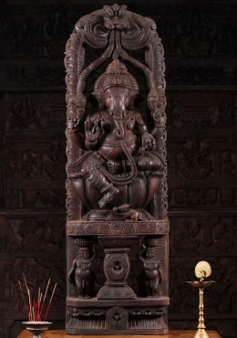Wooden Ganesha with Kirtimuhka Arch 48