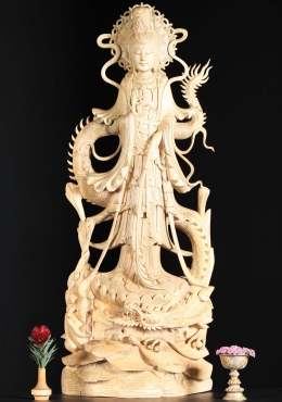 Large Wooden Kwan Yin with Dragon Statue 40