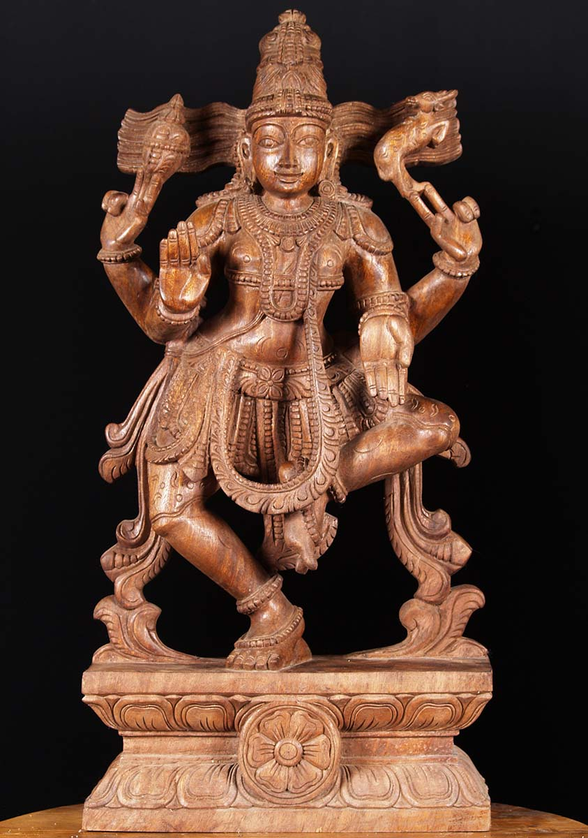 Sold wooden dancing shiva carving quot w c hindu