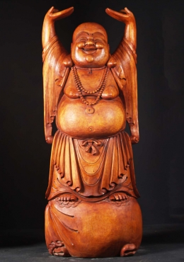 Large Wood Standing Fat And Happy Buddha 72