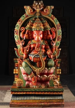 Large Wooden 3 Headed Tri Muhkthi Ganapathi 70