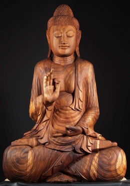 Large Wooden Teaching Buddha Statue 78