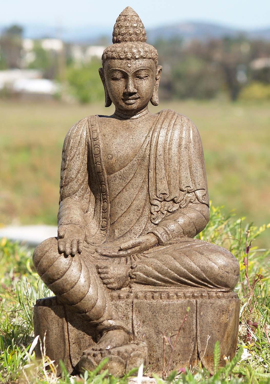 Carved Stone Statue : Stone varada mudra buddha statue quot ls hindu