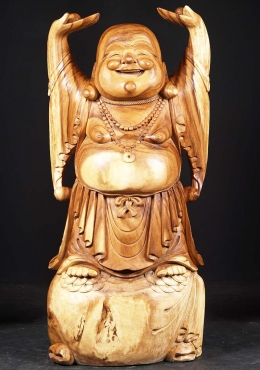 Wood Fat And Happy Buddha Standing 47