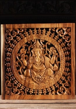 Wood Ganesha Wall Panel with Floral Designs 24