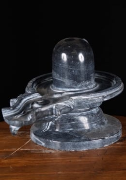 Black Marble Shiva Lingam with 4 Cobras 12