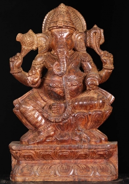 Wood Seated Ganapathi Statue 12