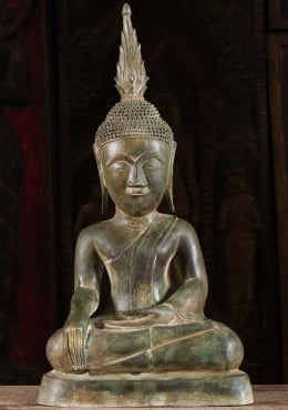 Brass Laotian Buddha Statue with Large Finial 26