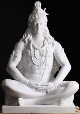 PREORDER Masterpiece White Marble Meditating Shiva Sculpture 54