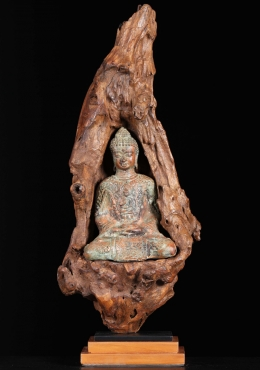 Brass Meditating Buddha In Natural Wood 22