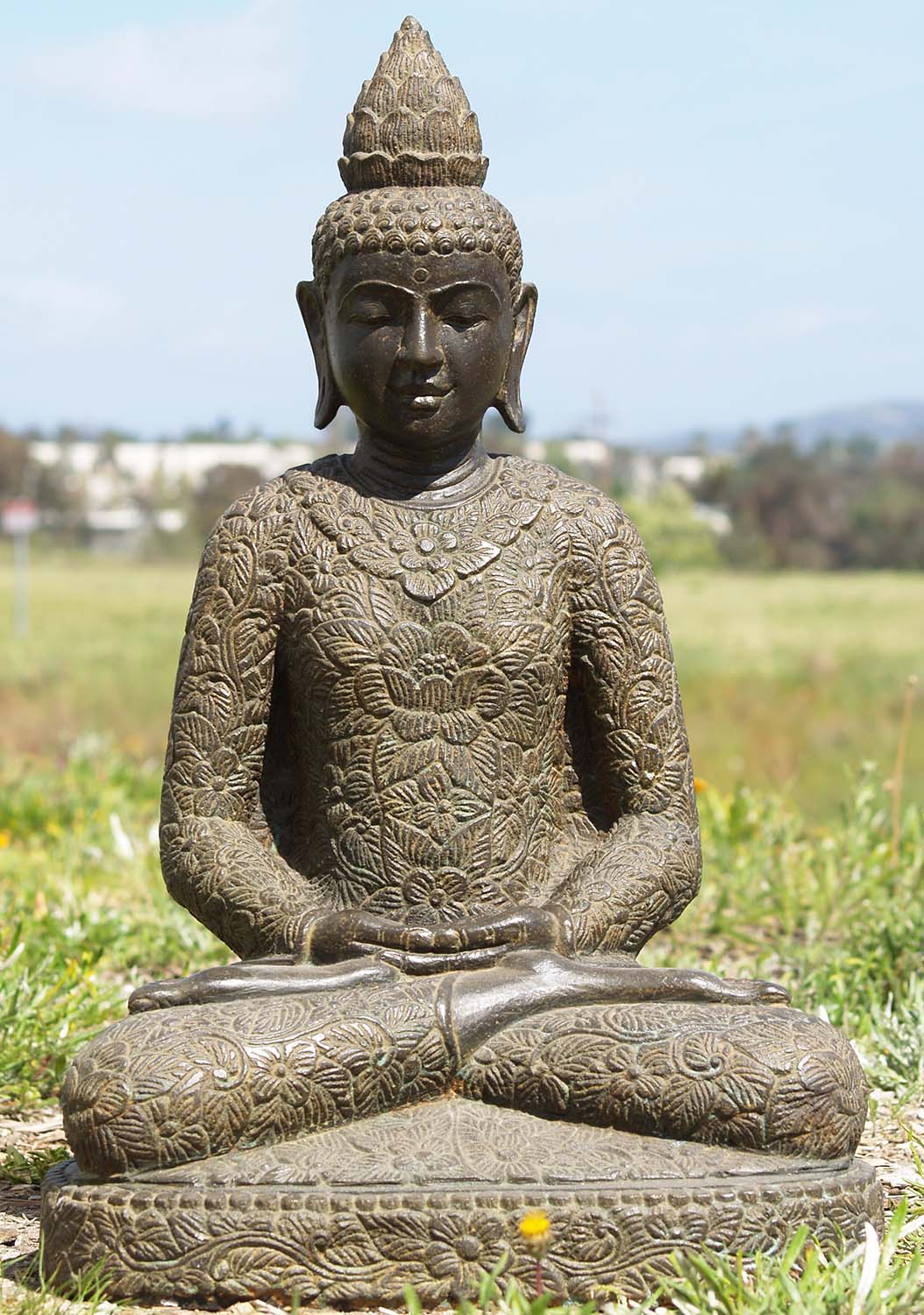 sold stone meditating garden buddha statue 26 86ls171. Black Bedroom Furniture Sets. Home Design Ideas