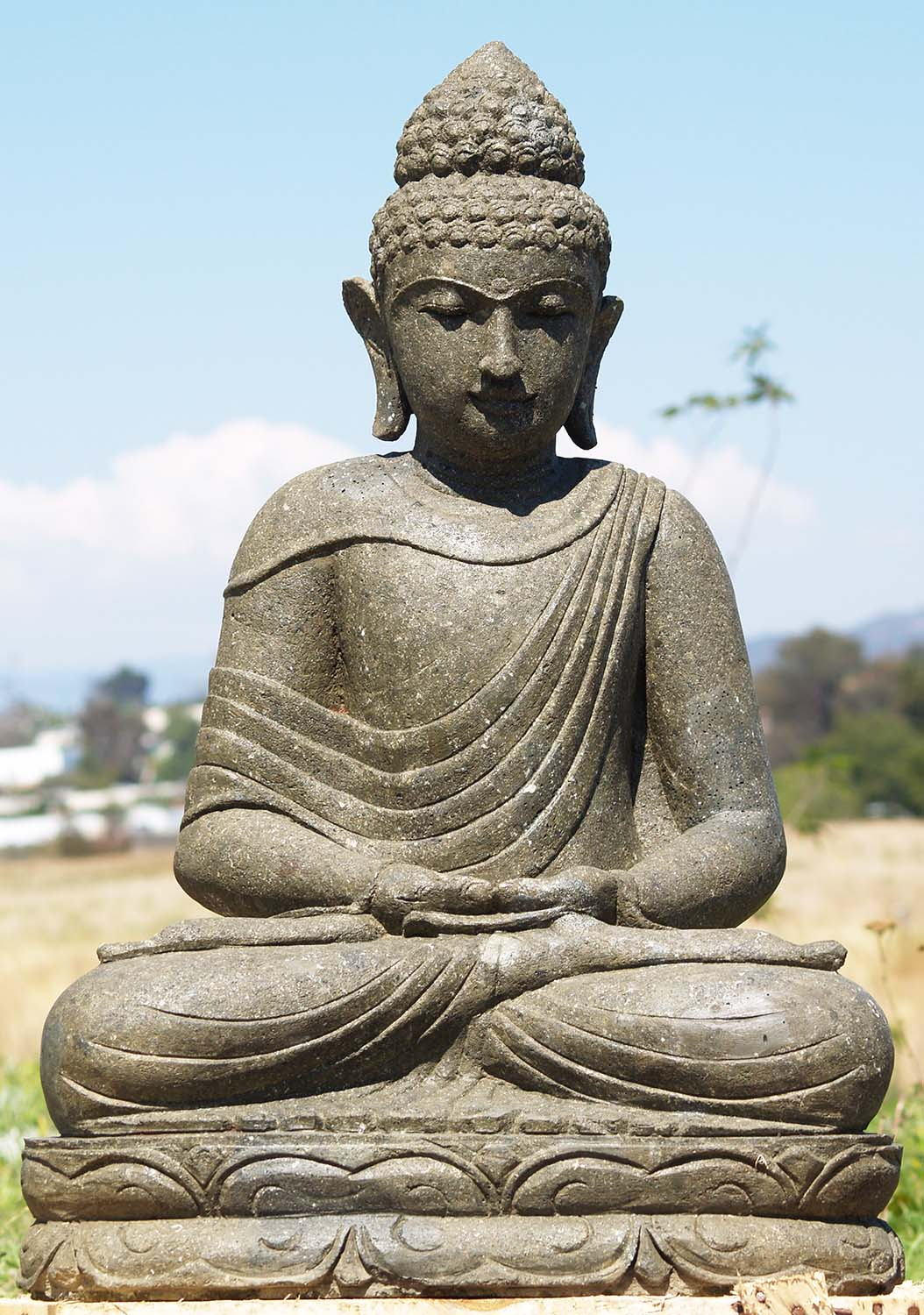 sold stone meditating buddha garden statue 34 86ls197. Black Bedroom Furniture Sets. Home Design Ideas