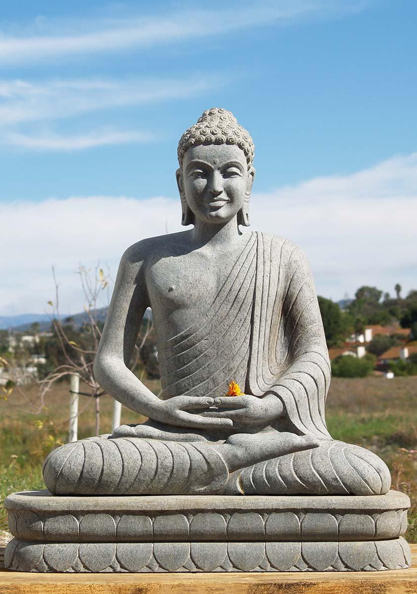 Sold Granite Meditating Buddha Garden Statue 40 Quot 62g14