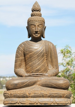 Meditating Buddha with Large Flame Finial 39